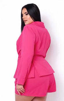 Hot Pink Ladies Shorts Set Plus Size