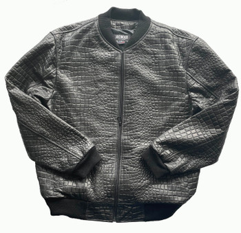 Black Croc Embossed Baseball Jacket