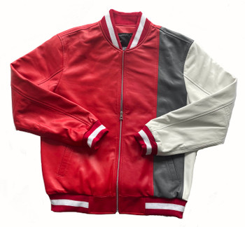 Red, Grey and White Butter Soft Baseball Jacket