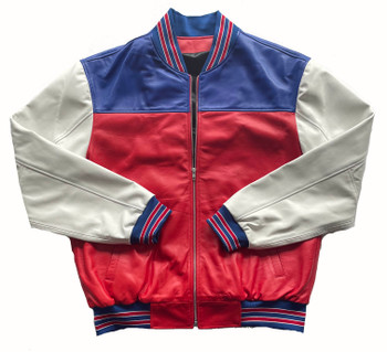 Red White and Blue Butter Soft Baseball Jacket