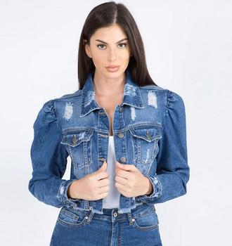 Puff Sleeve Distressed Denim Jacket for women