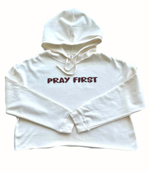 Pray First Cropped Hoodie