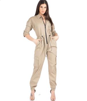 Zipper Front Khaki ladies Tan Jumpsuit