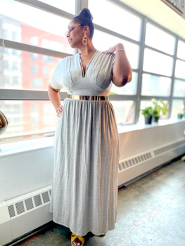 Gray Deep V Neck Maxi Dress