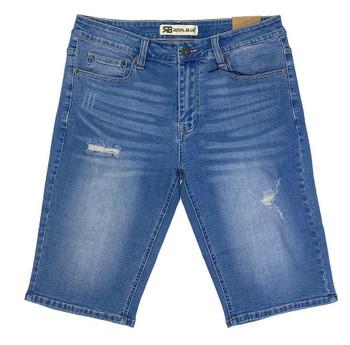 Blue Washed Ripped Denim Shorts