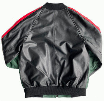 Green Black and Red lightweight Leather bomber Jacket