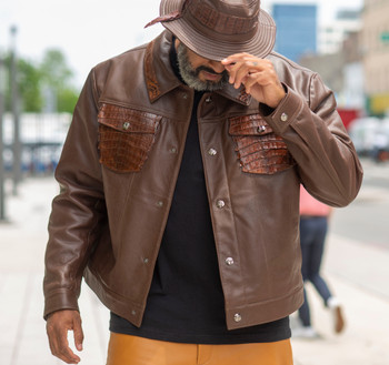 Brown Leather Jacket with Alligator trim