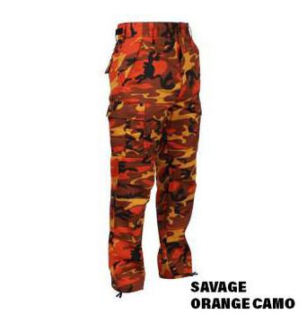 Savage Orange Camo BDU Cargo Pocket Pants