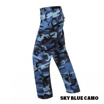 Sky Blue Camo BDU Cargo Pocket Pants