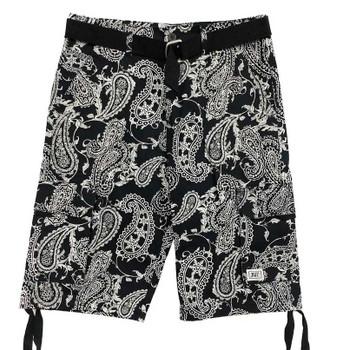 Mens Belted Black Paisley shorts