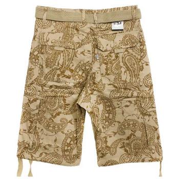 Mens Belted Tan Paisley shorts