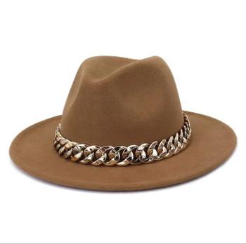 Chain Belt Big Brim Fedora Brown