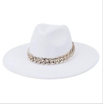 Chain Belt Fedora Big Brim White Hat