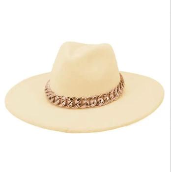 Chain Belt Fedora Big Brim Bone Colored Hat