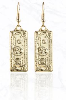 Gold Luxury 100 Dollar Bill Metal Earrings