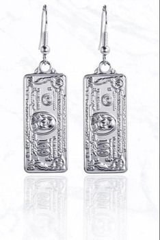 Silver Luxury 100 Dollar Bill Metal Earrings