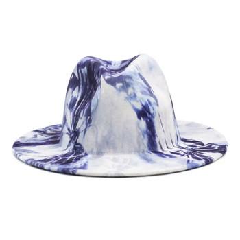 White and Purple Tie Dye Fashion Wool Fedora Hat