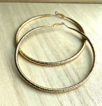 Large Lightweight Gold Hoop Earrings