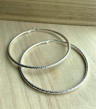 Large Lightweight Silver Hoop Earrings
