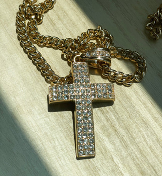 Gold Iced Out Cross
