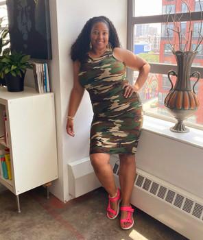 Camo Body Con Tank Dress