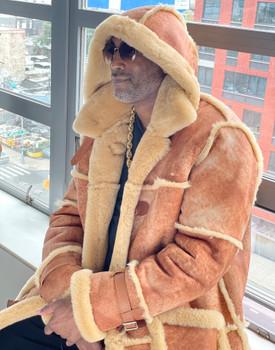 Tan Old School 3/4 Sheepskin Jacket w hood