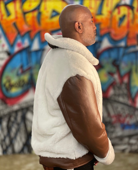 Brown White Inside out Bomber Jacket