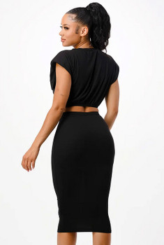 Black Two Piece Top and Skirt Set