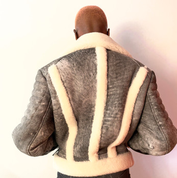 Gray Distressed Cropped Sheepskin Jacket