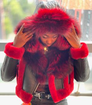 Red and Black Cropped Ladies Sheepskin Jacket