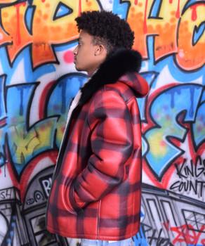 Red and Black Lumberjack print Sheepskin Jacket