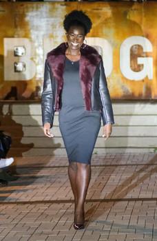 Black and Burgundy Ladies Short Sheepskin Jacket