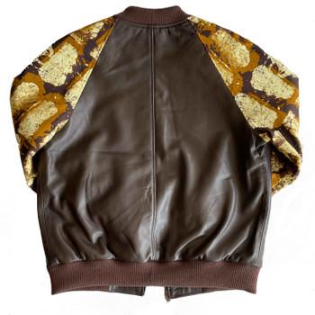 Ankara Fabric Sleeves Leather Jacket