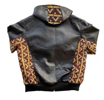 Ankara Side and Hood Leather Jacket