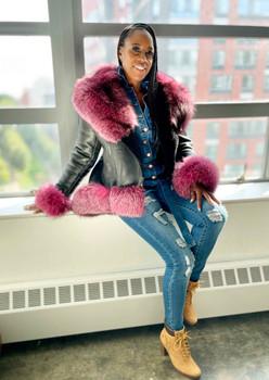 Pink and Black Peplum Sheepskin Jacket