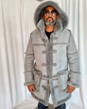 Gray Suede Old School Sheepskin Jacket