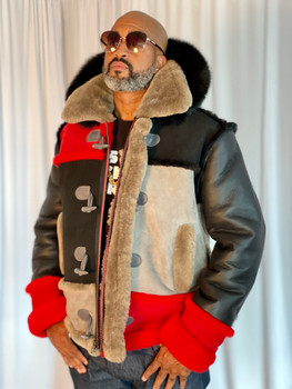 Multi Color Mens Sheepskin Jacket with Hood