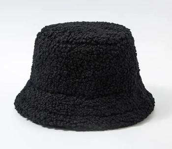 Lamb Wool Black Bucket Fishermans Hat winter hat