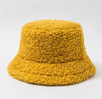 Lamb Wool Yellow Bucket Fishermans Hat winter hat