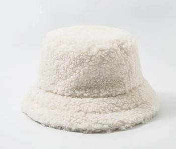 Lamb Wool White Bucket Fishermans Hat winter hat