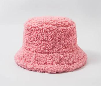 Lamb Wool Pink Bucket Fishermans Hat winter hat
