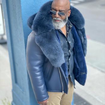 Blue Sheepskin Pilot Coat with Fur Trim on Collar and Hood