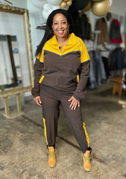 Tan and Brown Track Suit
