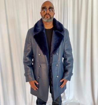 Navy Double Breasted Sheepskin Pea Coat
