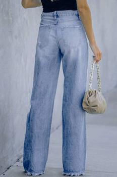 Ladies Distressed Wide Leg Jeans
