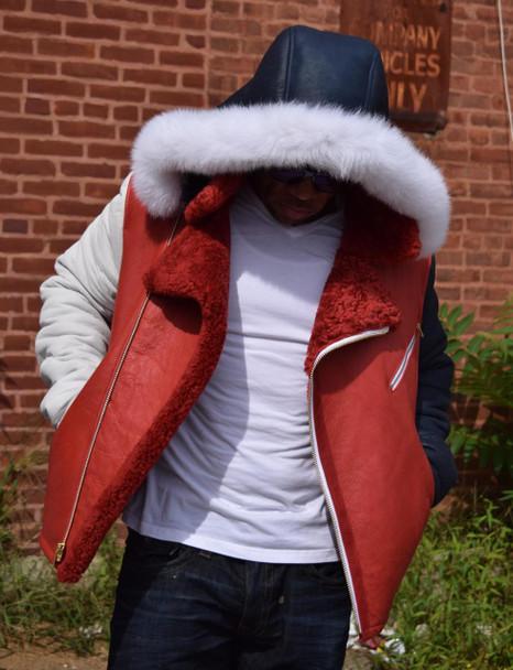 Jakewood Red, White and Blue Sheepskin Jacket