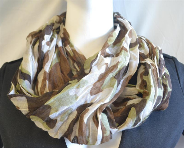 Tan Camouflage Lightweight Infinity Scarf