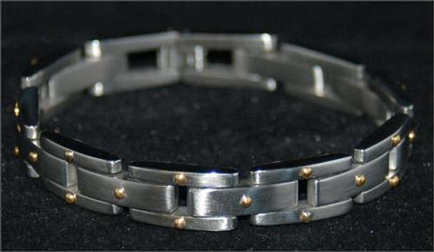Italian Design Stainless Steel Gold Dots Mens Bracelet