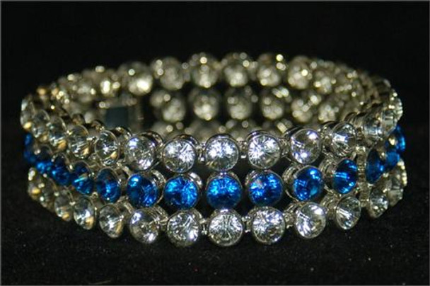 3 Rows of Ice Blue and Clear Bracelet