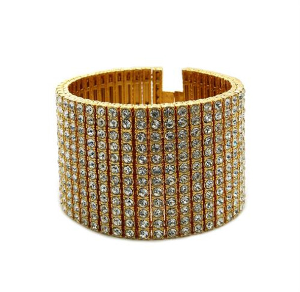 Gold All Ice Bracelet Cuff